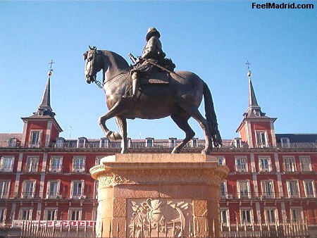 The equestrian statue of Felipe III in Plaza Mayor